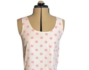 Vintage Early 1990's White and Pink Polkadot Tank Top Sleeveless Polka Dot Shirt Size Small Rayon Curved Hem