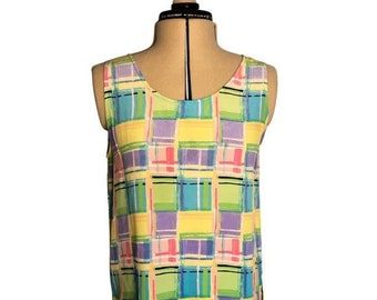 Vintage 1990's Silk Geometric Print Tank Top Rectangle Pattern Yellow Purple Blue Size Small by Robbie Bee Scoop Neck Bright Colorful