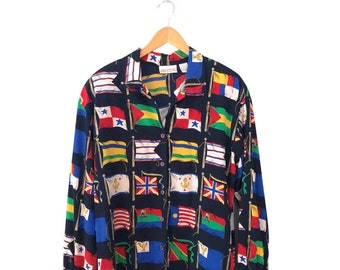 Vintage 1990s Women's Long Sleeve Blouse Navy Blue with Flag Pattern Novelty Print Primary Colors Liz Claiborne Size 10 Button Down Shirt