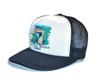 7e141eef360709 Vintage 1980's Natural Bridge, Virginia Trucker Hat Navy Blue White Baseball  Cap Adjustable Snapback Retro Souvenir VA Vacation Hat AB1