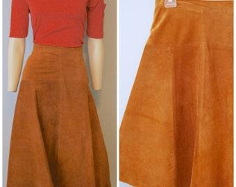 Vintage 1970's Brown Suede Leather Midi Skirt A-Line Firenze Santa Barbara for Sax Fifth Avenue High Waist Size Large Bohemian Boho Fall