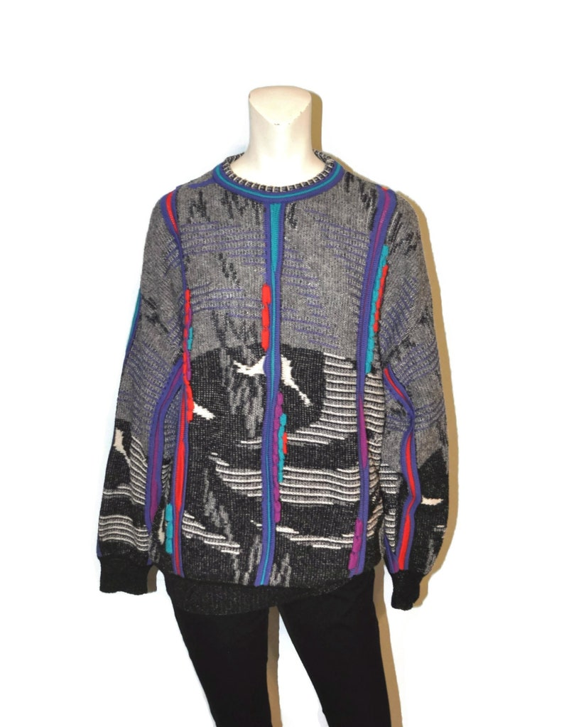 ec4e61c7b53 Vintage 1990's Crazy Cosby Style Sweater Men's Size Medium Wool Blend  Geometric Pattern Black Gray Red Purple St. Croix Retro Pullover
