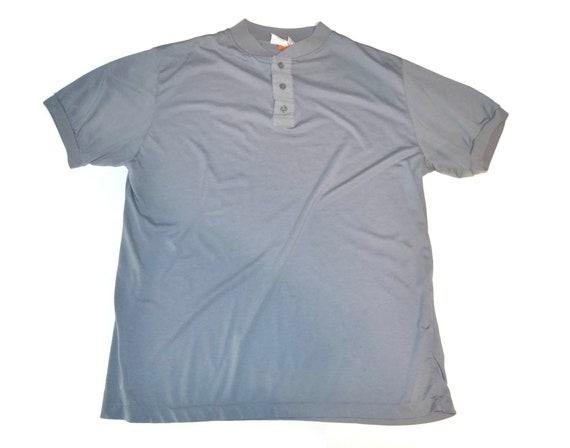 Vintage 1980's Gray Short Sleeve Henley Shirt Thi… - image 1