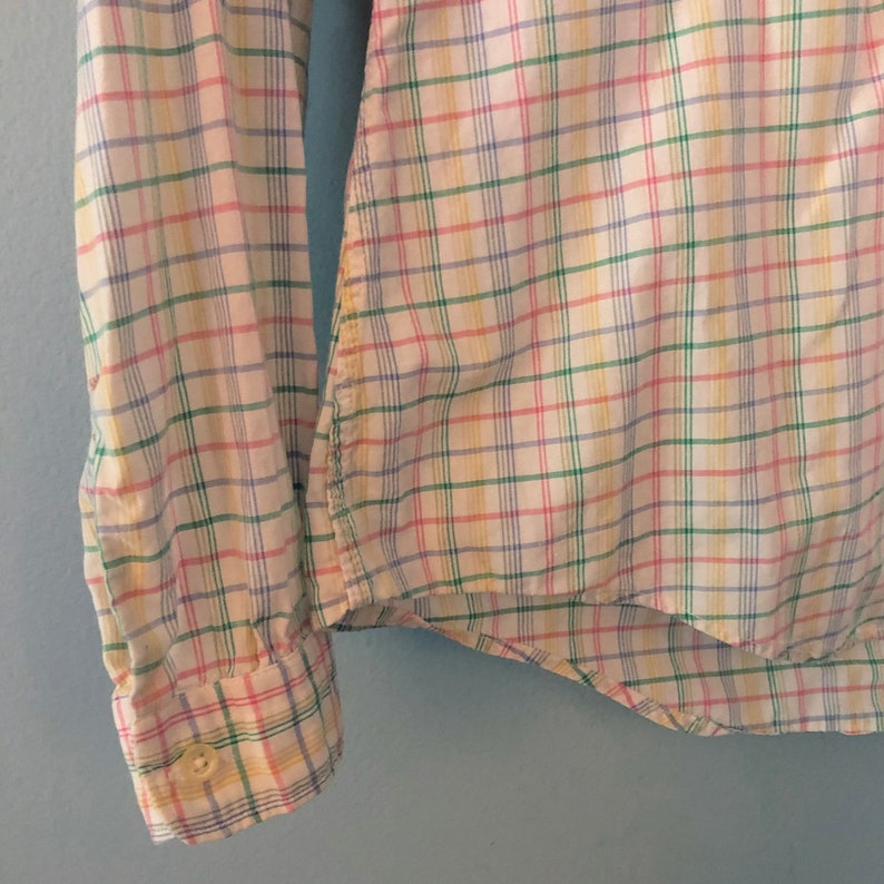 Vintage 1980/'s or 1970/'s  Nantucket Plaid Peter Pan Collar Shirt Ruffle Detail Button Down Blouse Long Sleeve Pink Green Yellow Size Medium