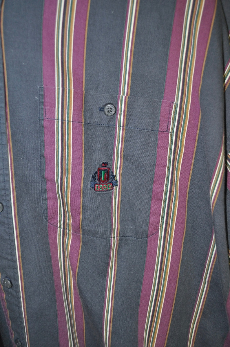 Vintage Late 1990/'s Men/'s Button Down Long Sleeve Shirt Izod Navy Blue Purple Vertical Stripes Size XL Relaxed Fit Baggy Oxford Shirt Cotton