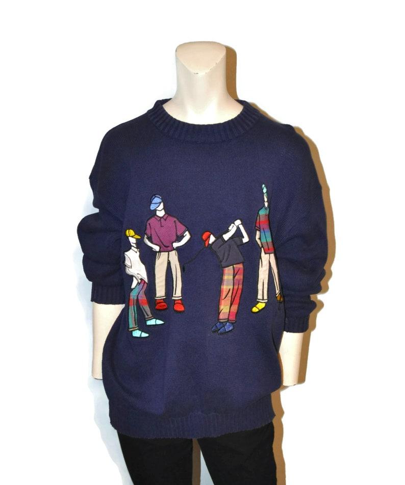 377d4a802c53 Vintage 1990 s Men s Golf Sweater Navy Blue Golfer Men
