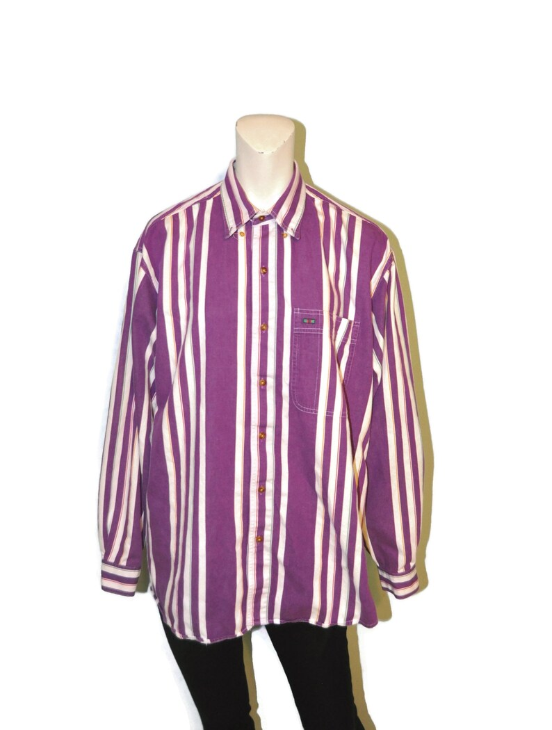 Vintage 1990/'s Men/'s Striped Button Down Long Sleeve Shirt Purple with Colorful Rainbow Vertical Stripes Size Medium Relaxed Fit Oxford
