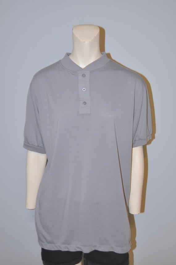 Vintage 1980's Gray Short Sleeve Henley Shirt Thi… - image 3