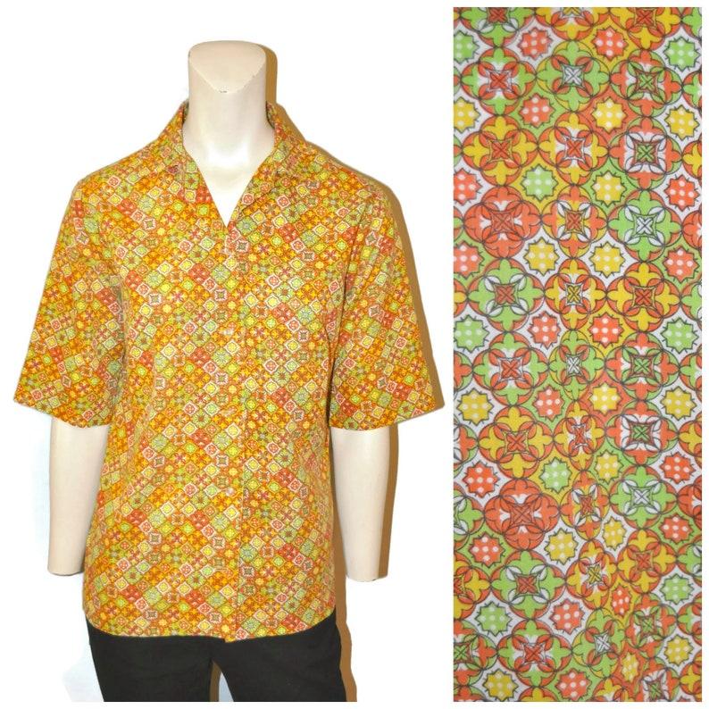 cb0255b3009 Vintage 1960's Women's Pattern Shirt Short Sleeve Button Down Blouse Orange  Green and Yellow Geometric Groovy Print Retro Hippie Top Size 32