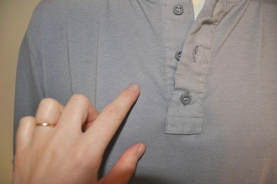Vintage 1980's Gray Short Sleeve Henley Shirt Thi… - image 7