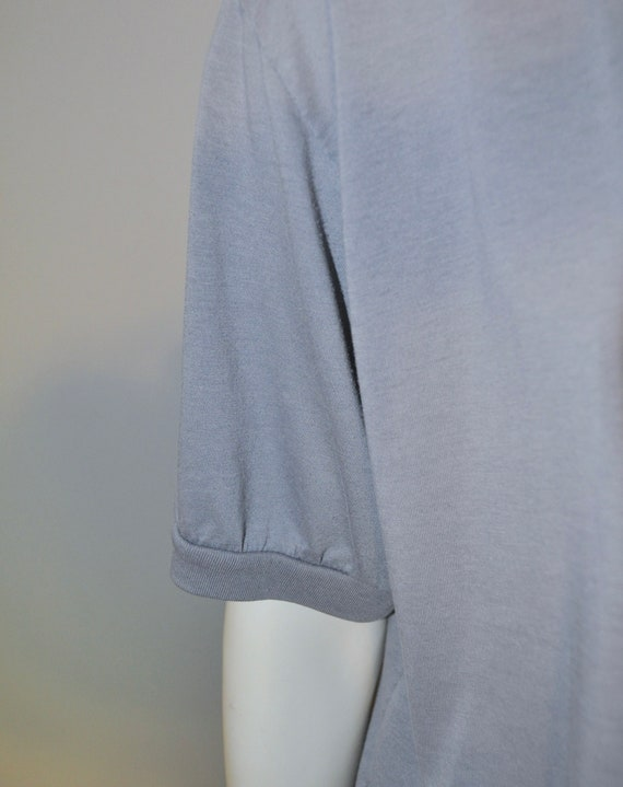 Vintage 1980's Gray Short Sleeve Henley Shirt Thi… - image 6