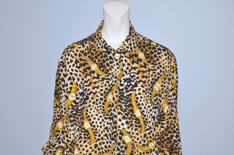 ce2cc038ceaebf Vintage 1990 s Silk Blouse Gold Watch and Leopard Print