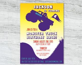 Printable Monster Truck Birthday Invitation Digital Design