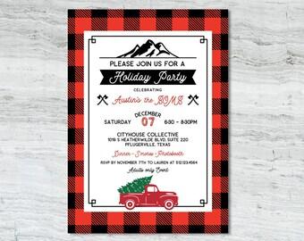 Rustic Buffalo Plaid Holiday Party Invitation DIGITAL PDF DESIGN