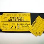 Old Hollywood, Art Deco, Gold Movie Ticket Birthday Invitation
