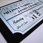 Old Hollywood, Art Deco, Silver Movie Ticket Wedding Invitation