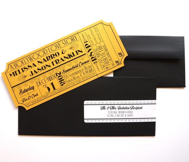 Alten Hollywood Art Deco Gold Movie Ticket Einladung Probe | Etsy