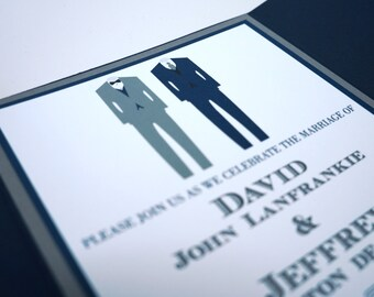 Two Suits Formal Pocket Fold Wedding Invitations