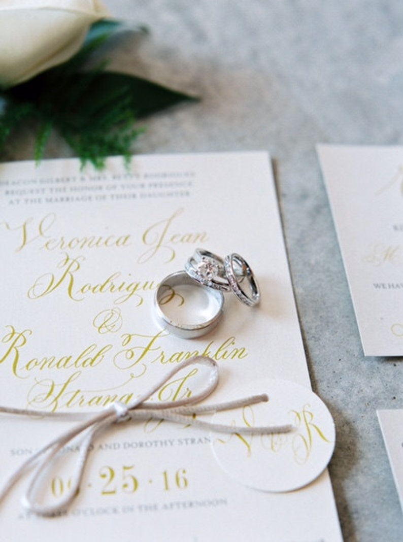 Shimmering Metallic Cream and Gold Calligraphy Wedding image 0