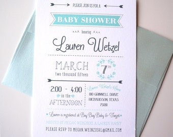 Mint and Gray Typography Baby Shower Invitation