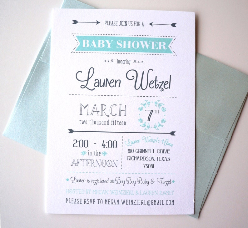 Mint and Gray Typography Baby Shower Invitation image 0