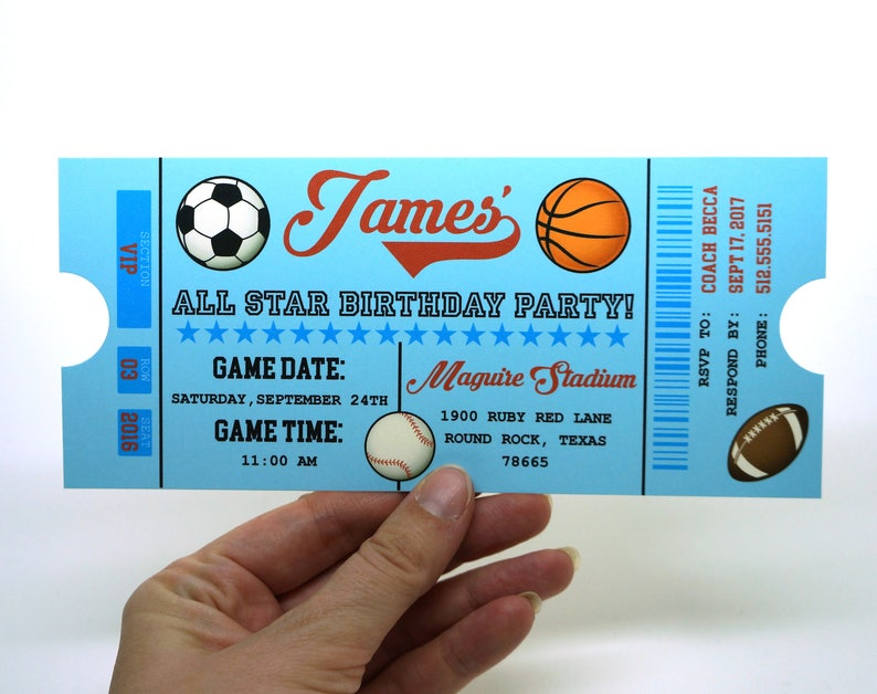 All Star Sports Ticket Birthday Invitation with Envelope : image 0