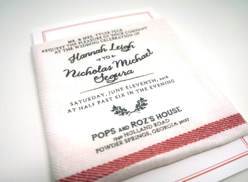 Vintage Grain Sack Wedding Invitations : Set of 50 Invitations image 0