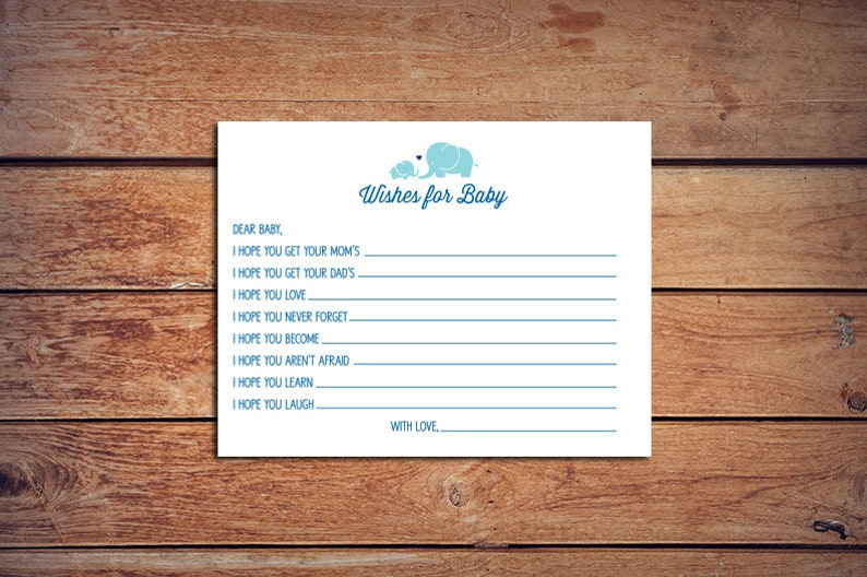 Wishes for Baby Elephant Baby Shower Game: Instant Download image 0