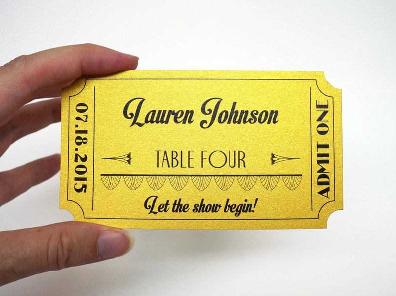 Old Hollywood Metallic Gold Movie Ticket Place Card Escort image 0