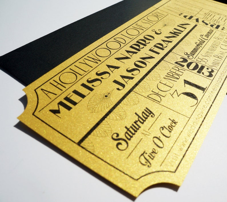 Old Hollywood Art Deco Gold Movie Ticket Wedding Invitation image 0