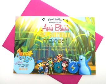 Beat Bugs Birthday Invitation with Envelope