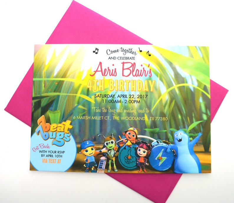 Beat Bugs Birthday Invitation with Envelope image 0