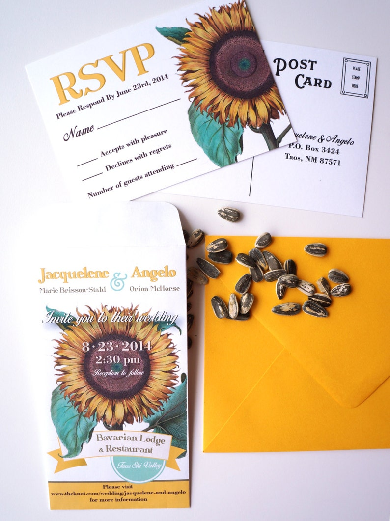 Sunflower Seed Packet Wedding Invitation with RSVP Postcard image 0