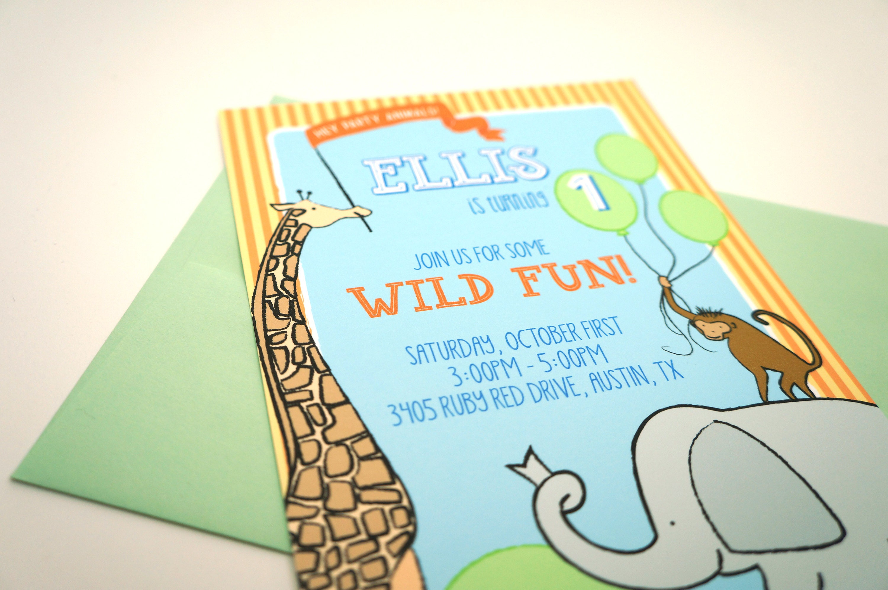 Animal Party First Birthday Invitation Gender Neutral