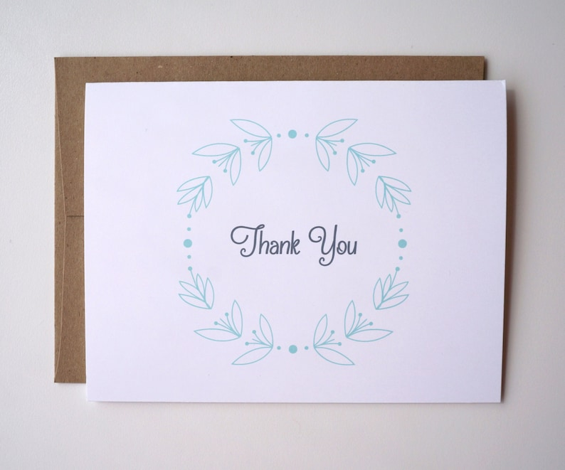 Mint Wreath Thank You Card : Free Shipping image 0