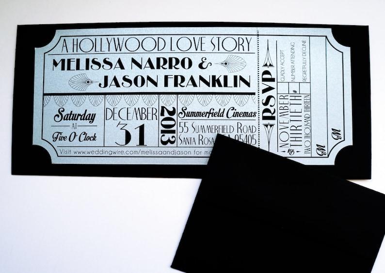 Old Hollywood Art Deco Silver Movie Ticket Invitation SAMPLE image 0