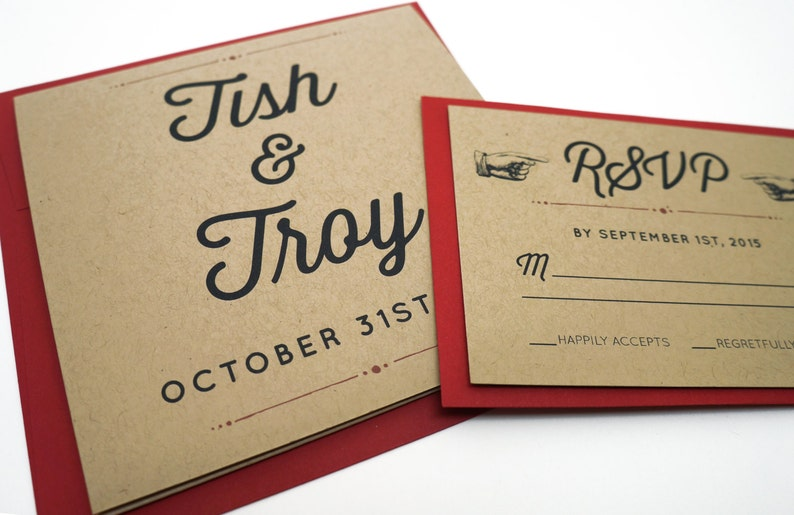 Long Tri-Fold Rustic Recycled Kraft Wedding Invitation with a image 0