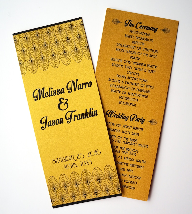 Old Hollywood / Art Deco Metallic Gold Wedding Program : image 0