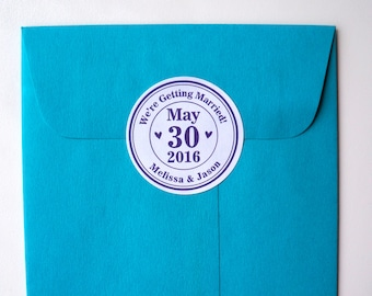 We're Getting Married! Custom Save the Date Stickers, Pack of 30 Round Stickers : FREE SHIPPING