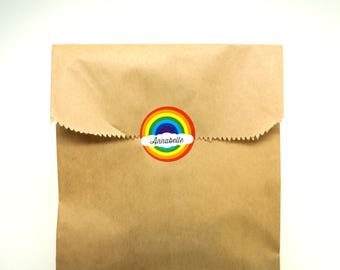 Personalized Rainbow Stickers, 30 Circle Stickers : Gift Bag or Invitation Label with Free Shipping