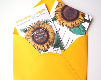 SAMPLE of Sunflower Seed Packet Wedding Invitation with RSVP Postcard