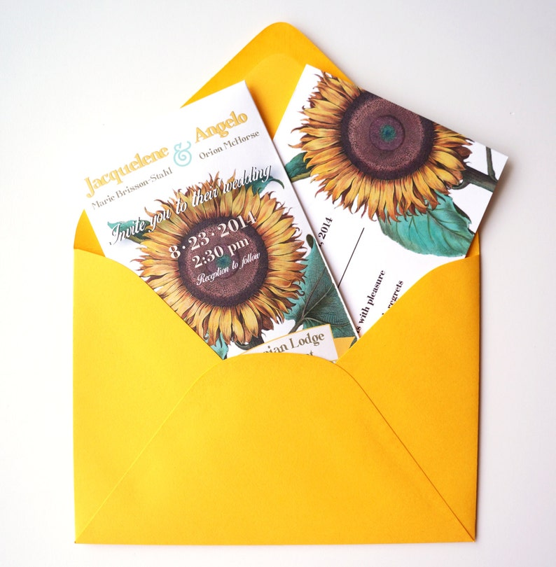 SAMPLE of Sunflower Seed Packet Wedding Invitation with RSVP image 0