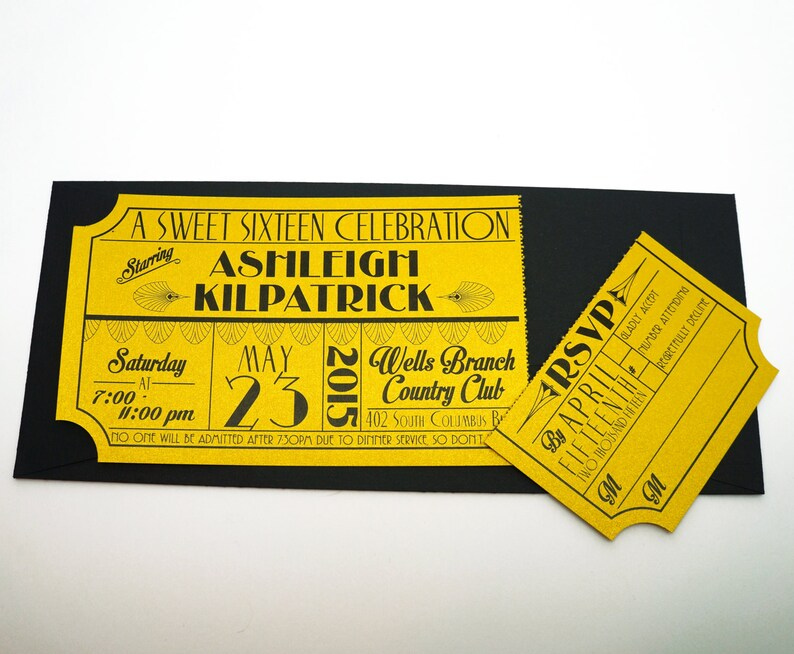 Old Hollywood Art Deco Gold Movie Ticket Birthday Invitation image 0