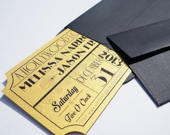 Old Hollywood, Art Deco, Gold Movie Ticket Wedding Invitation - DIGITAL DESIGN