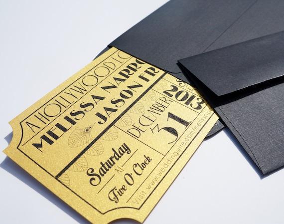 Old Hollywood Art Deco Gold Movie Ticket Wedding Invitation Etsy