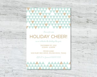 Gold and Mint Modern Holiday Party Invitation DIGITAL PDF DESIGN