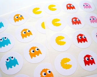 Pac-Man 24 Pack of Retro Arcade Stickers : FREE SHIPPING