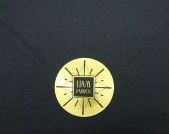 Art Deco Sun Burst Metallic Gold Personalized Round Sticker, Label, Seal, Set of 30, Free Shipping
