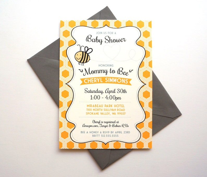 Mommy to Bee Gender Neutral Bee Themed Baby Shower Invitation image 0