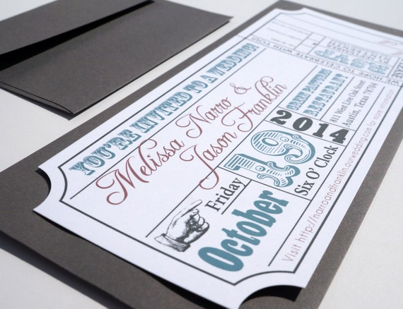 Movie Ticket Wedding Invitation Digital Design Etsy